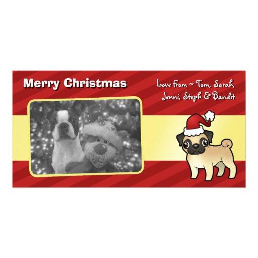 Christmas Pug Personalized Photo Card