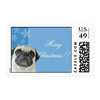 Christmas pug postage
