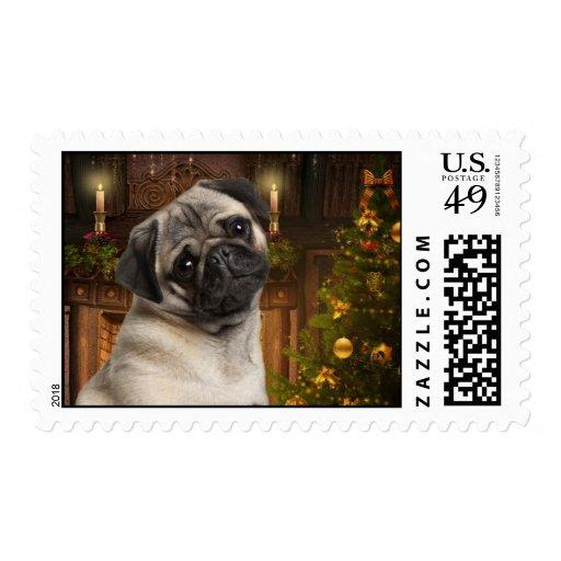 Christmas Pug Postage Stamps