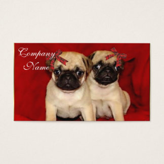 Christmas pug puppies business card