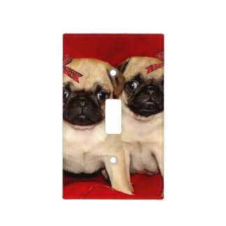Christmas pug puppies light switch cover