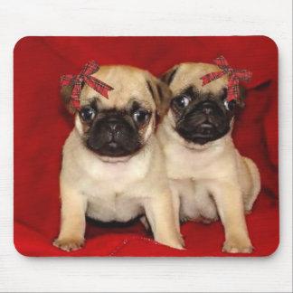 Christmas pug puppies mouse pad