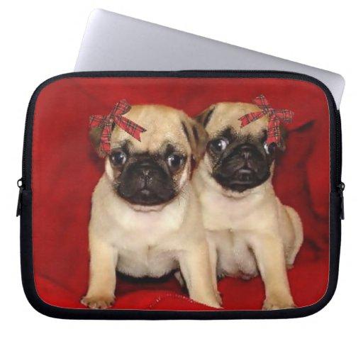 Christmas Pug Puppies Neoprene Laptop Sleeve