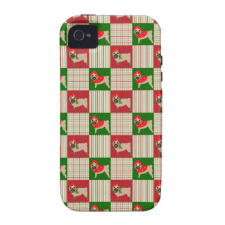Christmas Pug Quilt Case-Mate iPhone 4 Covers