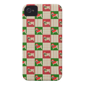 Christmas Pug Quilt iPhone 4 Cases