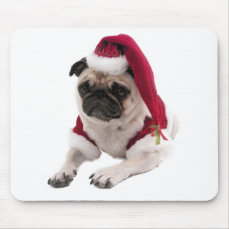 Christmas pug - santa claus dog - dog claus mouse pad