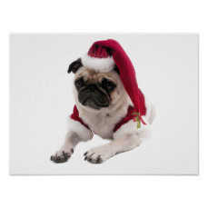 Christmas pug - santa claus dog - dog claus poster
