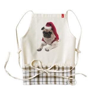 Christmas pug - santa claus dog - dog claus zazzle HEART apron