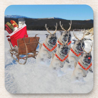 Christmas Pug Sleigh Coaster