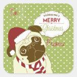 Christmas Pug Square Sticker