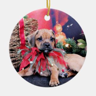 Christmas - Puggle - Gus Ceramic Ornament