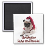 Christmas Pugs and Kisses 2 Inch Square Magnet