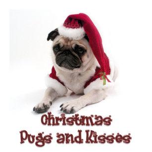 christmas pugs and kisses metal ornament