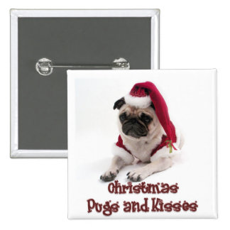 Christmas Pugs and Kisses Pinback Button