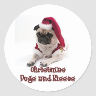 Christmas Pugs and Kisses Round Sticker