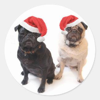 christmas pugs classic round sticker