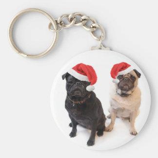 christmas pugs keychain