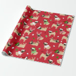 "Christmas Pugs Wrapping Paper<br><div class=""desc"">Christmas Pugs Wrapping Paper,  Cute Pug Dogs in Festive Holiday Outfits.</div>"