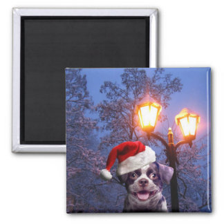 Christmas Pup 2 Inch Square Magnet