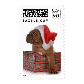 Christmas Puppy As Santa Postage