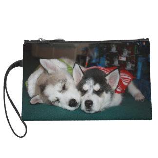 Christmas puppy bag wristlets
