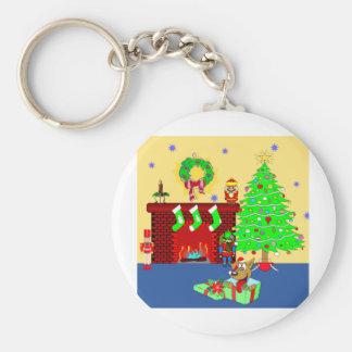 Christmas Puppy Basic Round Button Keychain