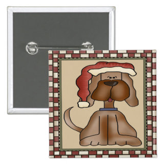 Christmas Puppy Dog 2 Inch Square Button