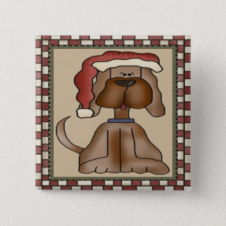 Christmas Puppy Dog Button
