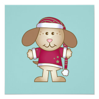 Christmas Puppy Elf Invitation