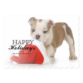 Christmas Puppy - English Bulldog Puppy Carrying 5x7 Paper Invitation Card