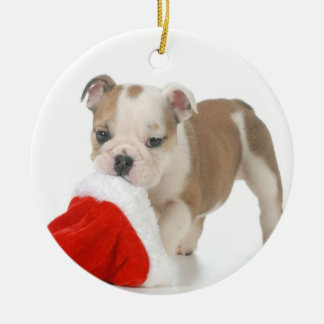 Christmas Puppy - English Bulldog Puppy Carrying Double-Sided Ceramic Round Christmas Ornament