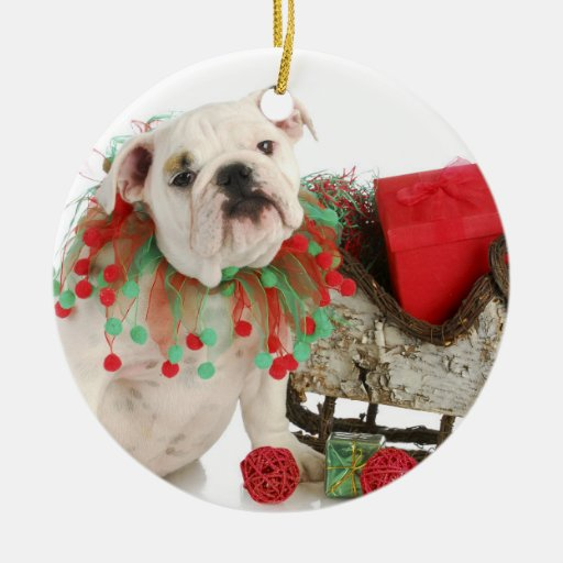 Christmas Puppy - English Bulldog Puppy Sitting Double-sided Ceramic Round Christmas Ornament