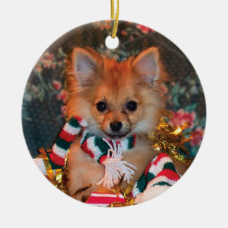 Christmas Puppy Double-Sided Ceramic Round Christmas Ornament