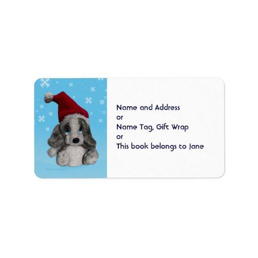 Christmas Puppy Santa Hat Name Gift Tag Bookplate Custom Address Label