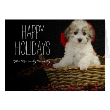 USA Themed Christmas puppy sitting in basket card