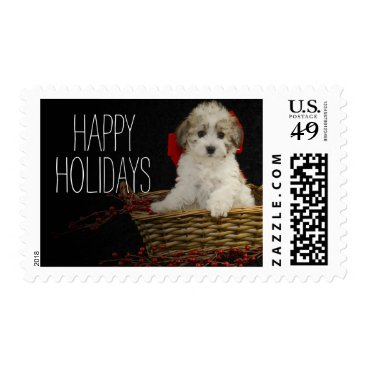 USA Themed Christmas puppy sitting in basket postage