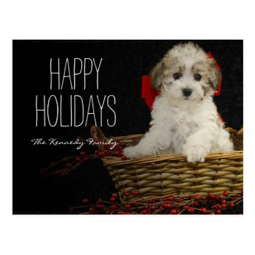 USA Themed Christmas puppy sitting in basket postcard