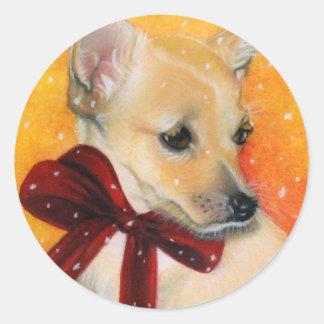 Christmas puppy snow classic round sticker