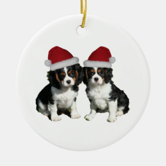 Christmas Pups Double-Sided Ceramic Round Christmas Ornament