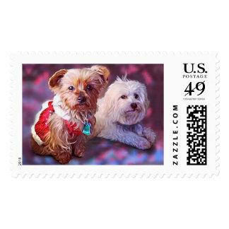 Christmas Pups Holiday Stamp