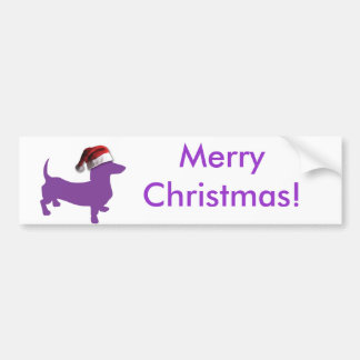 Christmas Purple Dachshund Bumper Stickers