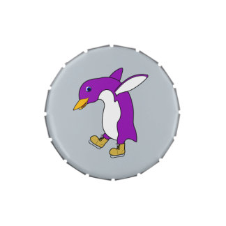 Christmas Purple Penguin with Gold Ice Skates Candy Tin