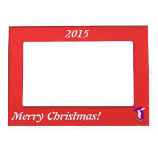 Christmas Purple Penguin with Gold Ice Skates Magnetic Frame
