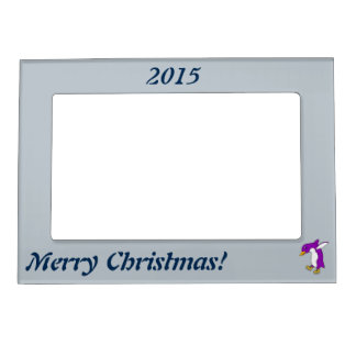 Christmas Purple Penguin with Gold Ice Skates Magnetic Photo Frame