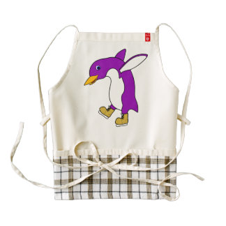Christmas Purple Penguin with Gold Ice Skates Zazzle HEART Apron