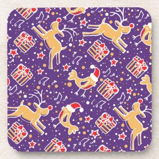 Christmas purple reindeer bird set of 6 coasters