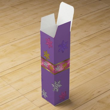 Christmas Themed CHRISTMAS PURPLE WINE GIFT BOX, VIOLET LILAC WOMAN WINE GIFT BOX