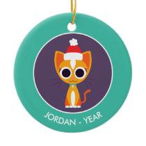 Christmas Purrl the Cat Ceramic Ornament