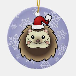 Christmas Pygmy Hedgehog Ceramic Ornament