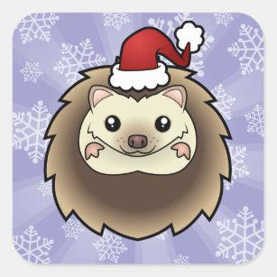 a789493527fa6 Christmas Pygmy Hedgehog Square Sticker